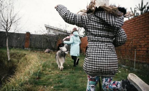 фотосессия с собакой семейная фотосъемка на даче на природе