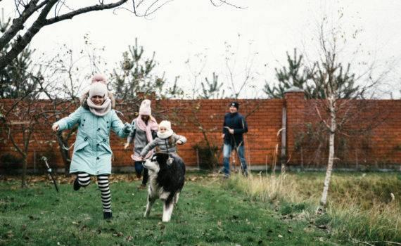 семейная фотосъемка на даче на природе фотосессия с собакой