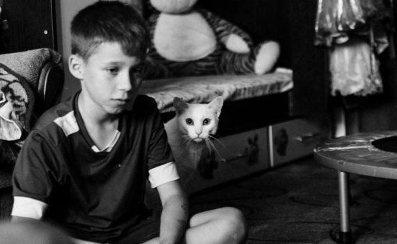 семейная домашная детская живая фотосессия кот