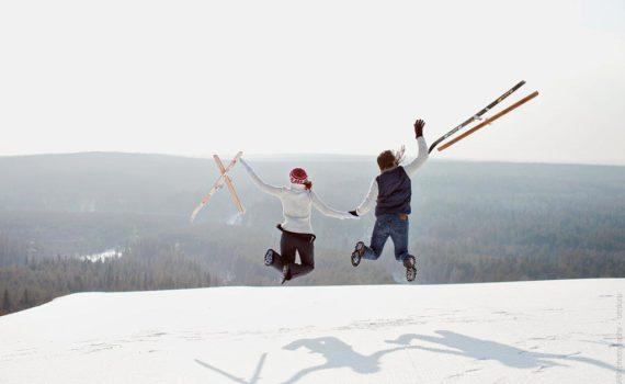 фотосессия пары на лыжах