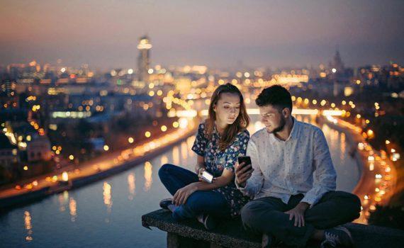 ночная фотосессия пары