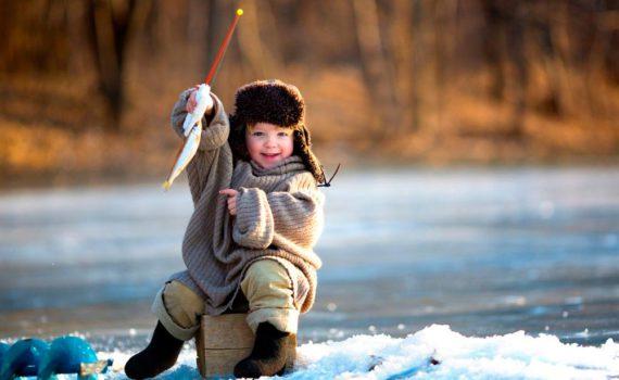 детская фотосессия, зимняя рыбалка