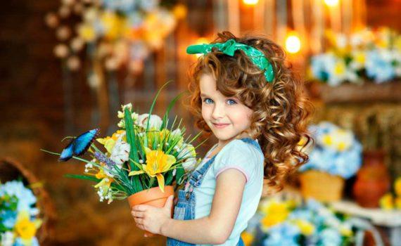 детская фотосессия с цветами
