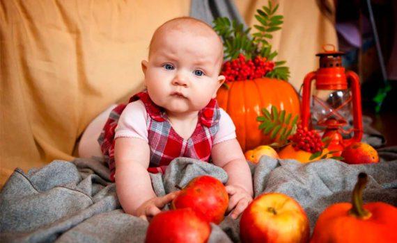детская фотосессия с фруктами