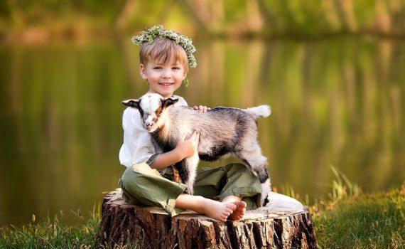 детская фотосессия, девочка с козой