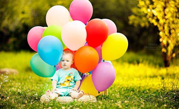 детская фотосессия, с воздушными шарами