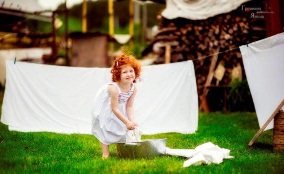детская фотосессия, стирка