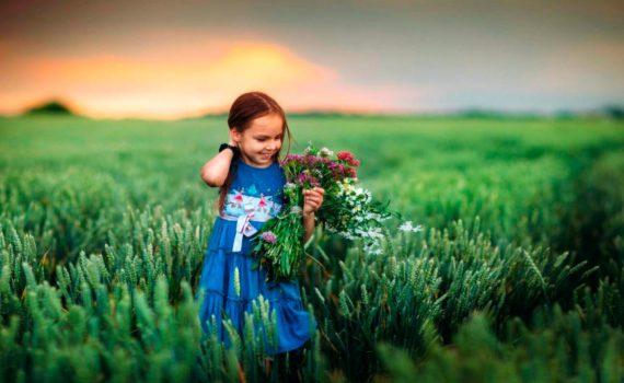 детская фотосессия, девочка в поле