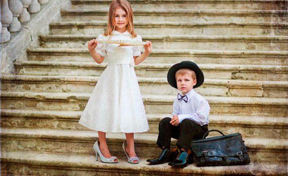 детская фотосессия, во взрослой одежде