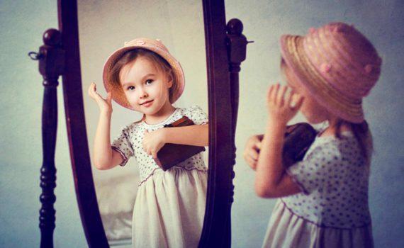 детская фотосессия, в зеркале