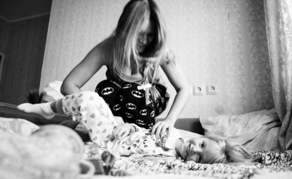 домашняя фотосессия, мама и дочка