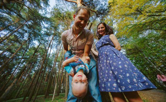 семейная фотосессия, необычный ракурс