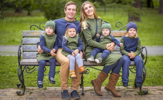 семейная фотосессия, в одинаковой одежде