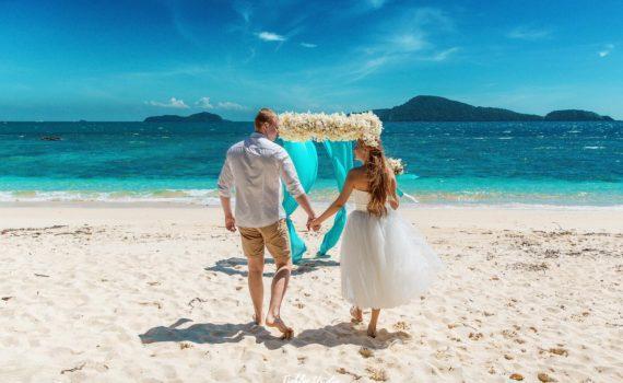 свадебная летняя фотосессия на пляже