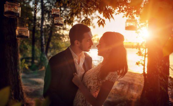 свадебная летняя фотосессия на закате