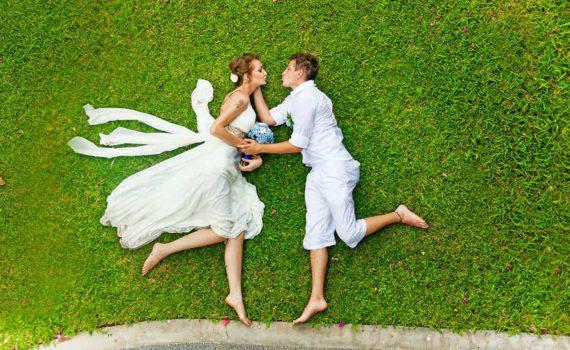 свадебная фотосессия летом ракурс сверху