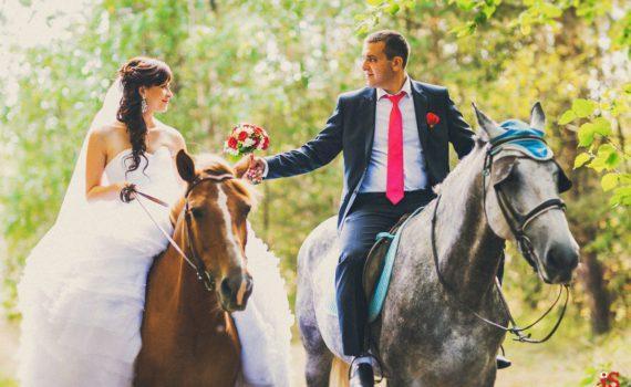 летняя свадебная фотосессия на лошадях