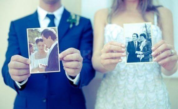 свадебная фотосессия летом со свадебными фотографиями родителей