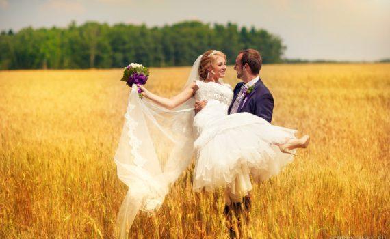 свадебная летняя фотосессия в поле
