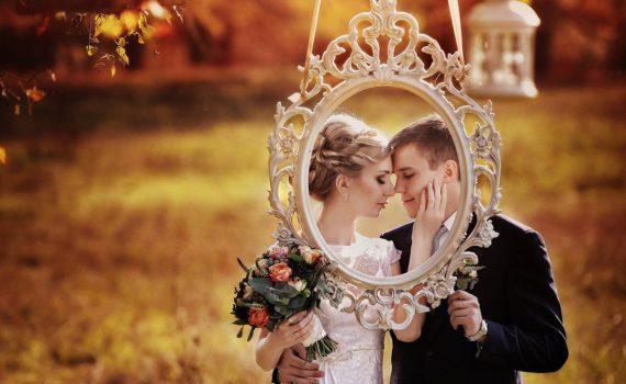 свадебная летняя фотосессия в рамке
