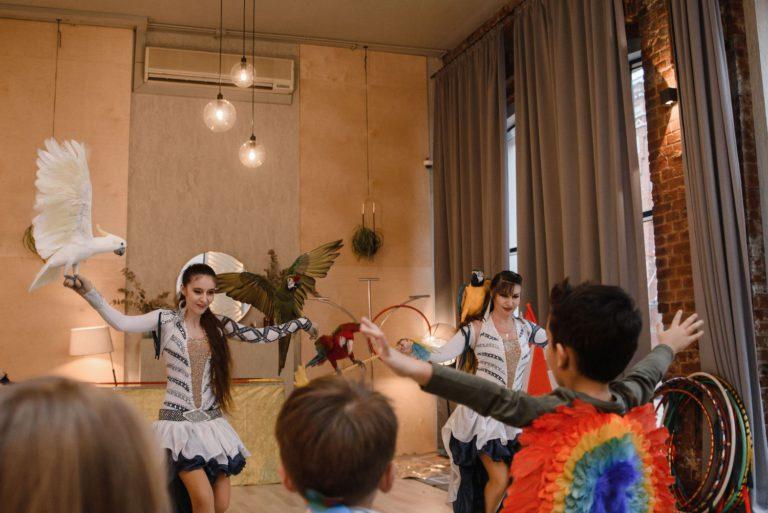 шоу попугаев на детский день рождения