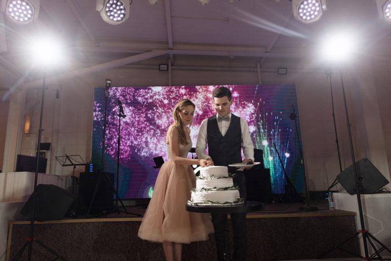 жених и невеста режут торт на свадьбе